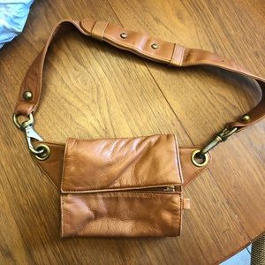DKNY Tan Leather Belt Purse